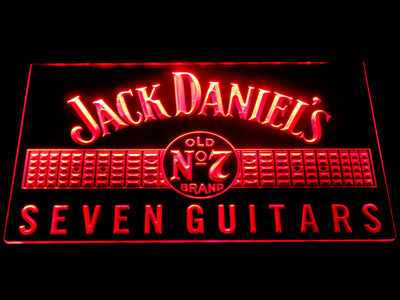 Jack Daniel's Seven Guitars LED Neon Sign - Red - SafeSpecial