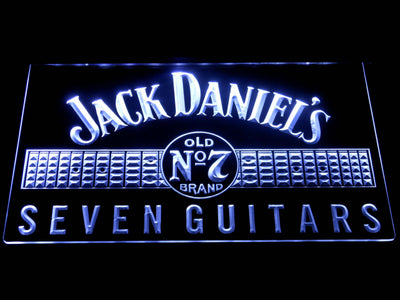 Jack Daniel's Seven Guitars LED Neon Sign - White - SafeSpecial