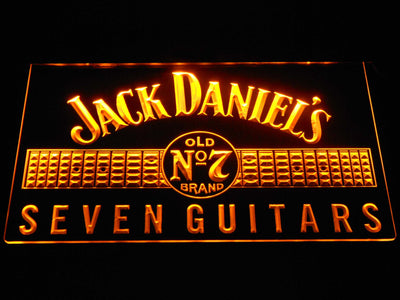 Jack Daniel's Seven Guitars LED Neon Sign - Yellow - SafeSpecial