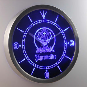 Jagermeister LED Neon Wall Clock - Blue - SafeSpecial