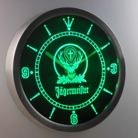 Jagermeister LED Neon Wall Clock - Green - SafeSpecial