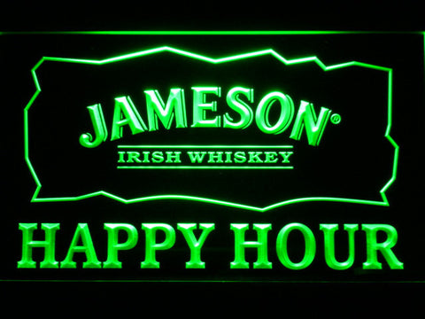 Jameson Happy Hour LED Neon Sign - Green - SafeSpecial