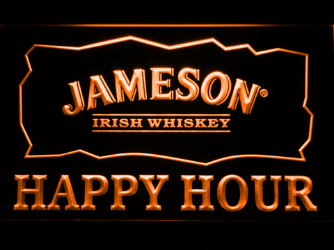 Image of Jameson Happy Hour LED Neon Sign - Orange - SafeSpecial