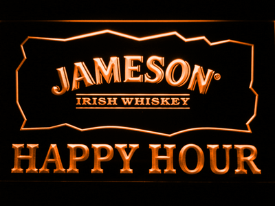 Jameson Happy Hour LED Neon Sign - Orange - SafeSpecial