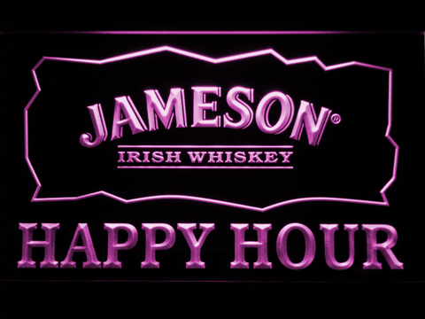 Jameson Happy Hour LED Neon Sign - Purple - SafeSpecial
