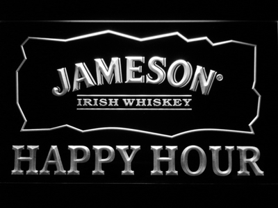 Jameson Happy Hour LED Neon Sign - White - SafeSpecial