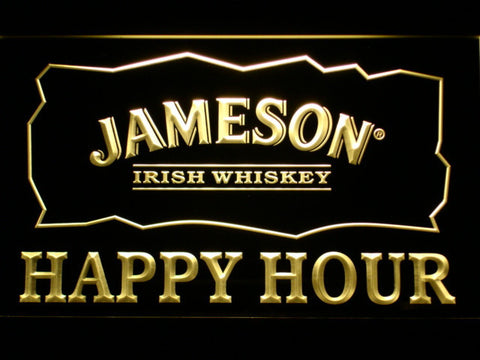 Image of Jameson Happy Hour LED Neon Sign - Yellow - SafeSpecial