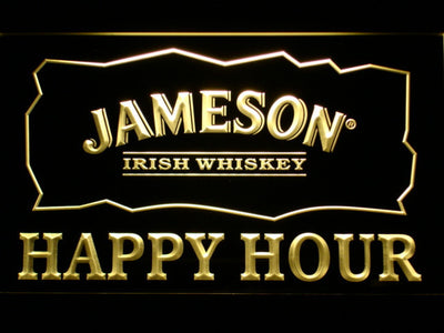 Jameson Happy Hour LED Neon Sign - Yellow - SafeSpecial