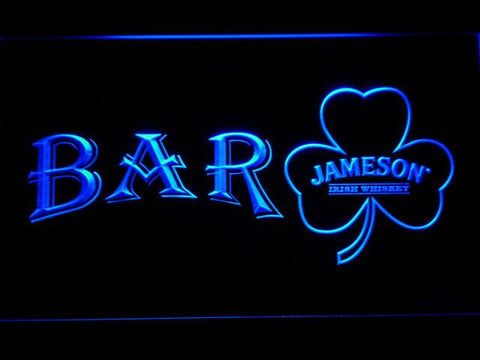 Image of Jameson Shamrock Bar LED Neon Sign - Blue - SafeSpecial