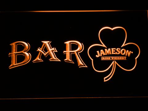 Image of Jameson Shamrock Bar LED Neon Sign - Orange - SafeSpecial