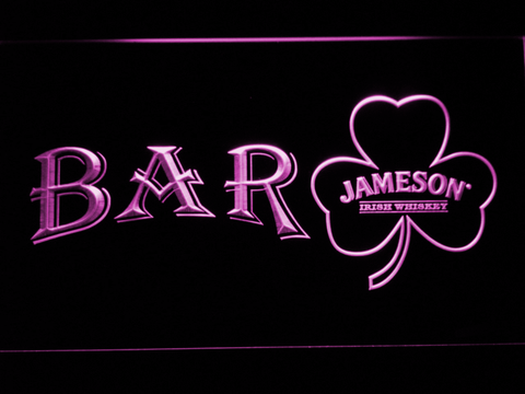 Image of Jameson Shamrock Bar LED Neon Sign - Purple - SafeSpecial