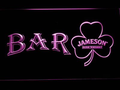 Jameson Shamrock Bar LED Neon Sign - Purple - SafeSpecial