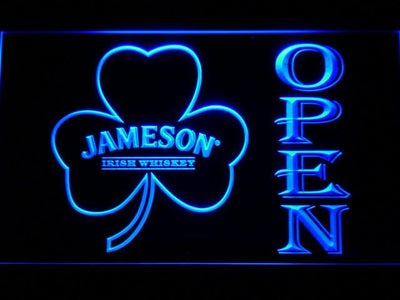 Jameson Shamrock Open LED Neon Sign - Blue - SafeSpecial