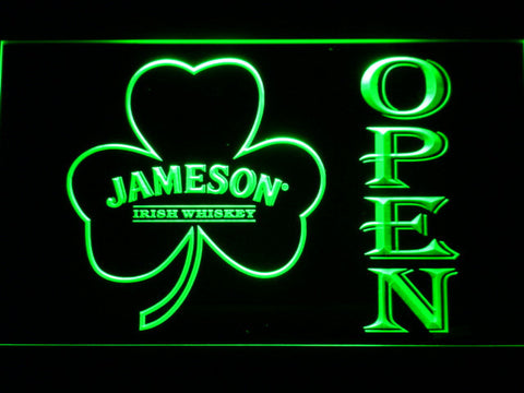 Image of Jameson Shamrock Open LED Neon Sign - Green - SafeSpecial