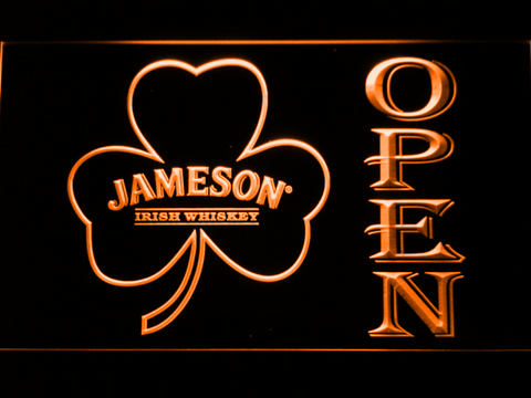 Image of Jameson Shamrock Open LED Neon Sign - Orange - SafeSpecial