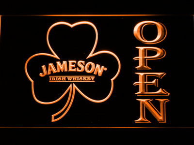 Jameson Shamrock Open LED Neon Sign - Orange - SafeSpecial