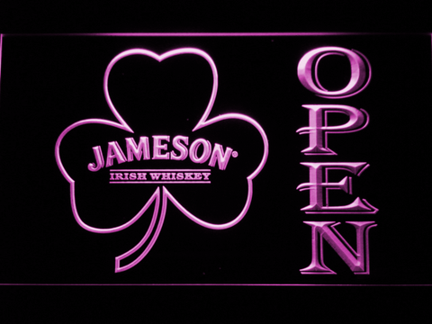 Image of Jameson Shamrock Open LED Neon Sign - Purple - SafeSpecial