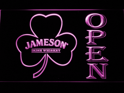 Jameson Shamrock Open LED Neon Sign - Purple - SafeSpecial