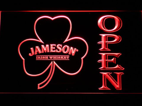 Image of Jameson Shamrock Open LED Neon Sign - Red - SafeSpecial