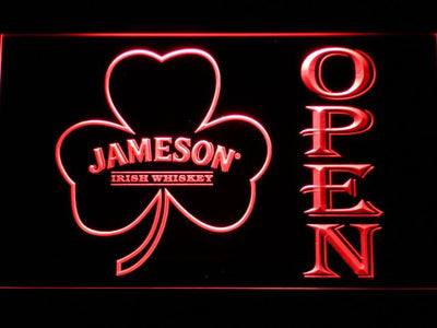 Jameson Shamrock Open LED Neon Sign - Red - SafeSpecial