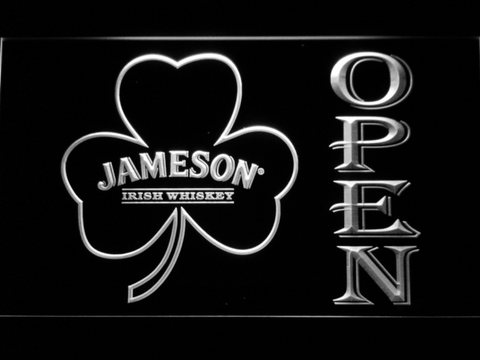 Image of Jameson Shamrock Open LED Neon Sign - White - SafeSpecial
