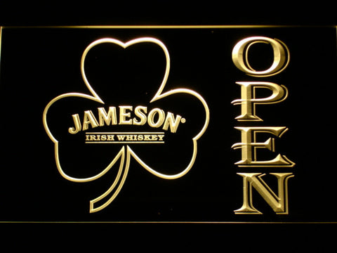 Image of Jameson Shamrock Open LED Neon Sign - Yellow - SafeSpecial