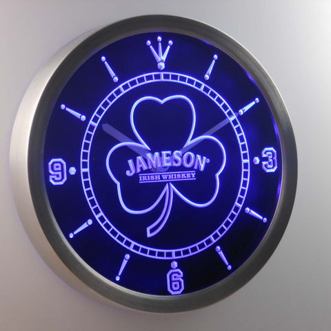 Image of Jameson Shamrock Outline LED Neon Wall Clock - Blue - SafeSpecial