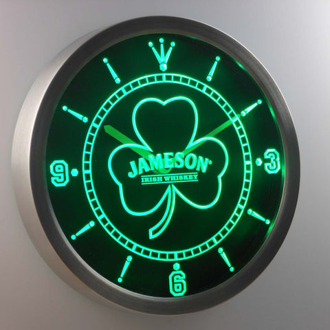 Image of Jameson Shamrock Outline LED Neon Wall Clock - Green - SafeSpecial
