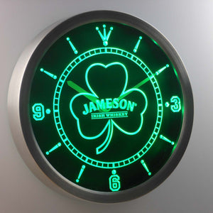 Jameson Shamrock Outline LED Neon Wall Clock - Green - SafeSpecial