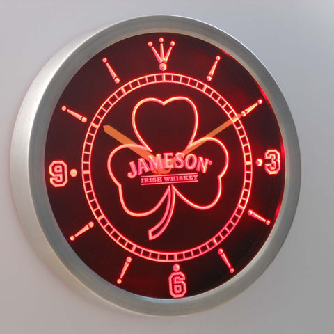 Image of Jameson Shamrock Outline LED Neon Wall Clock - Red - SafeSpecial
