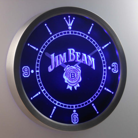 Jim Beam LED Neon Wall Clock - Blue - SafeSpecial