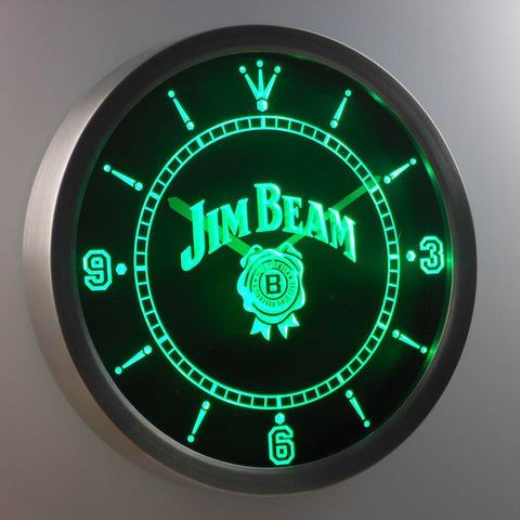 Jim Beam LED Neon Wall Clock - Green - SafeSpecial