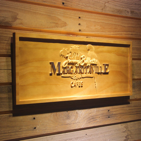 Image of Jimmy Buffett's Margaritaville Cafe Logo Wooden Sign - - SafeSpecial