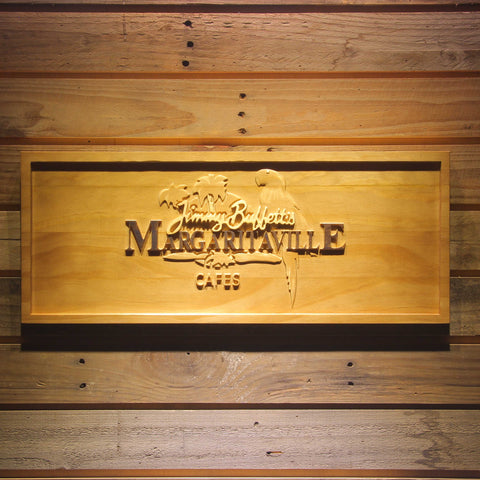 Image of Jimmy Buffett's Margaritaville Cafe Logo Wooden Sign - Small - SafeSpecial