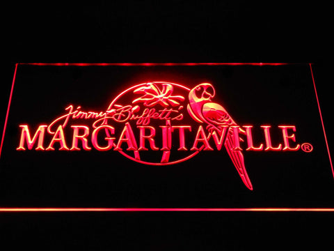 Image of Jimmy Buffett's Margaritaville LED Neon Sign - Red - SafeSpecial
