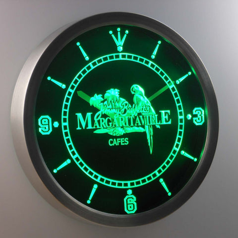 Jimmy Buffett's Margaritaville LED Neon Wall Clock - Green - SafeSpecial