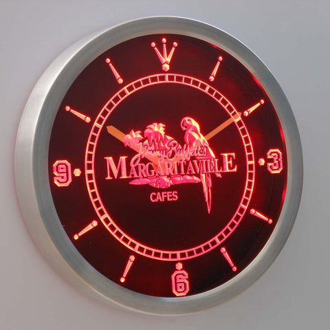 Jimmy Buffett's Margaritaville LED Neon Wall Clock - Red - SafeSpecial