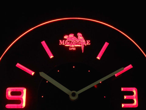 Image of Jimmy Buffett's Margaritaville Modern LED Neon Wall Clock - Red - SafeSpecial