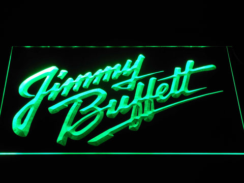 Image of Jimmy Buffett's Script Logo LED Neon Sign - Green - SafeSpecial