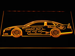 Joey Logano Race Car LED Neon Sign - Yellow - SafeSpecial