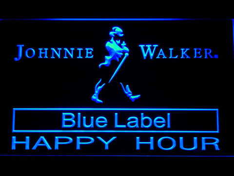 Johnnie Walker Blue Label Happy Hour LED Neon Sign - Blue - SafeSpecial