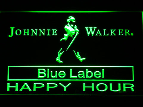 Johnnie Walker Blue Label Happy Hour LED Neon Sign - Green - SafeSpecial