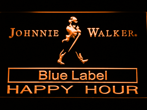 Johnnie Walker Blue Label Happy Hour LED Neon Sign - Orange - SafeSpecial