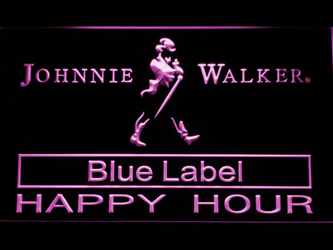 Johnnie Walker Blue Label Happy Hour LED Neon Sign - Purple - SafeSpecial