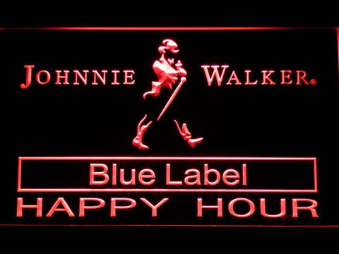 Johnnie Walker Blue Label Happy Hour LED Neon Sign - Red - SafeSpecial