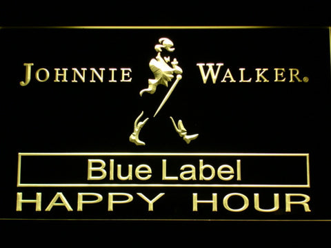 Johnnie Walker Blue Label Happy Hour LED Neon Sign - Yellow - SafeSpecial