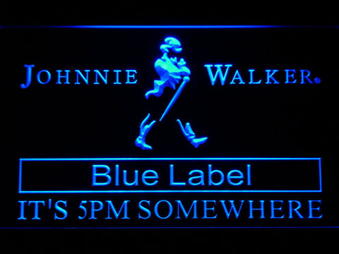 Image of Johnnie Walker Blue Label It's 5pm Somewhere LED Neon Sign - Blue - SafeSpecial