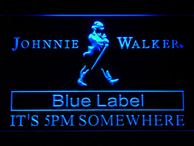 Johnnie Walker Blue Label It's 5pm Somewhere LED Neon Sign - Blue - SafeSpecial