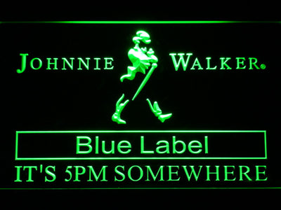 Johnnie Walker Blue Label It's 5pm Somewhere LED Neon Sign - Green - SafeSpecial