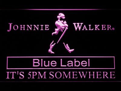 Johnnie Walker Blue Label It's 5pm Somewhere LED Neon Sign - Purple - SafeSpecial